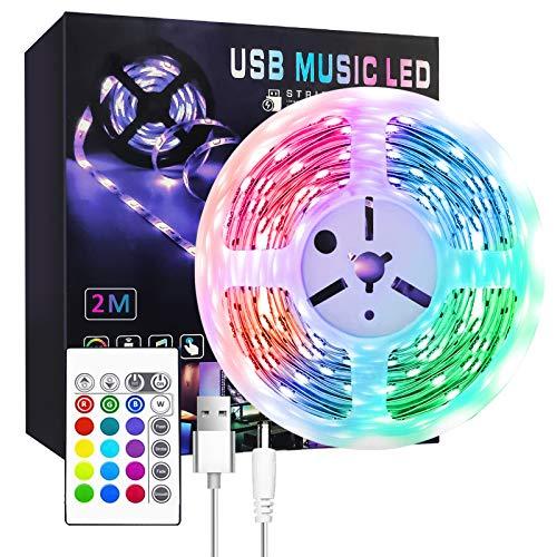 Ruban LED 2M 60LEDs Kit D'éclairage Bandes Interface USB, Bande Led pour Bricolage, Cuisine, Chambre, Fête, Maison, Décoration de Noël, GAOAG