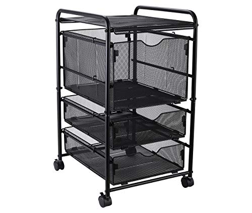 EasyPAG Assemble Mesh File Cart with Rolling Wheels 1 File Cube Organizer and 2 Small Drawers,Black
