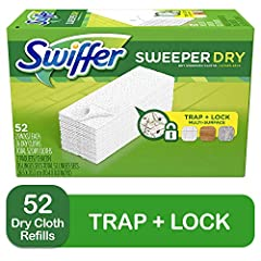 Thick dry cloths conform to the surface of your floors and grout lines Great for picking up Pet Hair Multi-surface and can be used on all floor types - hardwood, tile or vinyl floors Use with Swiffer Sweeper, Swiffer Sweep+Vac and Swiffer Sweep+ Trap...