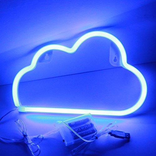 XIYUNTE Cloud Leuchtschilder - LED Wolke Neonlicht Blau Wolke Neonschild Wandlichter, Batterie oder USB betrieben Cloud Licht Dekoration für Zuhause, Kinderzimmer, Bar, Party, Weihnachten