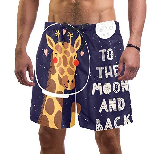 ATOMO Pantalones cortos de natación para hombre, diseño de jirafa, color morado, informal, para surf, playa, secado rápido