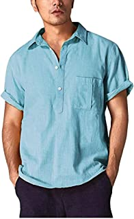 Shallood Uomo Cotone e Lino Manica Corta Maglietta Tinta Unita Slim Fit Cotone T-Shirt Uomo Estivo Grandad Collar Spiaggia...