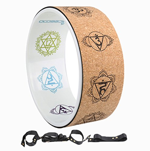 A-Flower Yoga Wheel Natural Cork Dharma Exercise Wheel 12.6 x 5 Inch for Enhancing Your Postures and Stretching Deeper with Strap