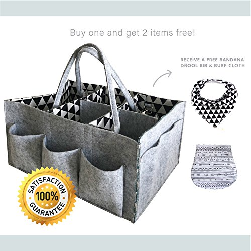 Baby Diaper Caddy By MooieMoments: Diaper Stacker Tote With Removable Handles, Large Nursery Organizer With Spacious Pockets, Easy To Clean Felt, Stylish Grey, Black & White Design For Boys & Girls