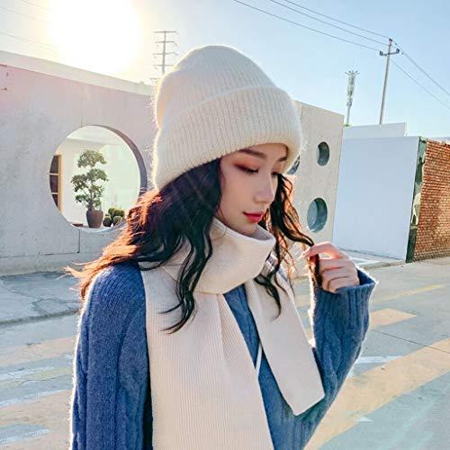 ECSWP MZWJTJKD Bolsa de Invierno Sombrero de Punto Sombrero 2pcs Set para Mujeres Gorros Gorros cálidos Gruesos Orejas Sombrero de Punto Gorra de esquí al Aire Libre (Color : Beige)