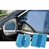 FMS Car Rearview Mirror Window Rainproof Protective Film, Anti-fog Anti-glare Anti-scratch View Mirror Window Nano Coating Waterproof Soft Clear Rainproof Film 4PCS (Rectangle + Ellipse)