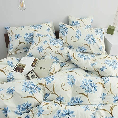 Nitwy Ropa de cama de microfibra, 200 x 200, 3 piezas, color blanco, juego de funda nórdica con flores azules, suave y mullida, con cremallera y 2 fundas de almohada de 80 x 80 cm