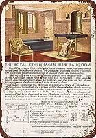 1930年標準ロイヤルコペンハーゲンブルーバスルーム備品コーヒーハウスまたはホームウォールインテリアメタルティンサイン