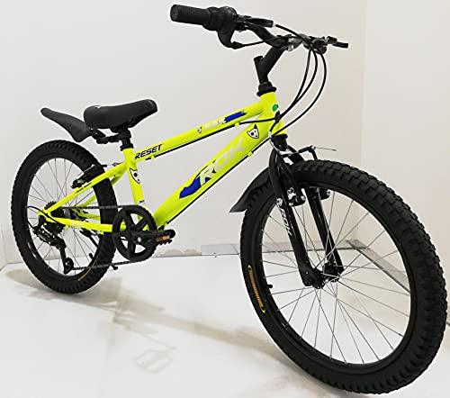 Bicicletta ragazzo 20' Pollici con cambio 6 Velocità Giallo Arancione bambino bici con cavalletto su Sfera per ragazzi con Freni V-Brake, con parafanghi (Giallo)
