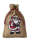 5 naturfarbene Jutebeutel, Jutesäcke mit farbigem Weihnachtsmann Motiv, Nikolaus, Geschenkverpackung, Weihnachten, Dekoration, Santa Claus, Geschenk, Advent, Winter, Weihnachtsfest (50x40cm)