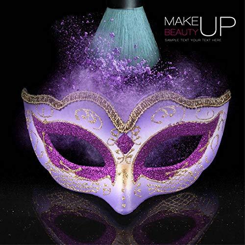 YULEJIA Maskerade Maskers Voor Vrouwen, Venetië Halloween Koppels Party Paars Kinderen Tekenen Half Gezicht Kunststof Masker Carnaval Cosplay Mardi Gras Masker Prom Artiesten Wanddecoratie