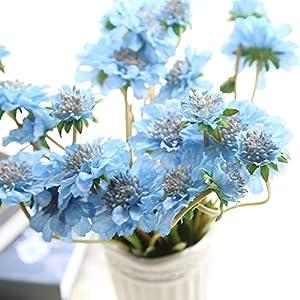 "cn-Knight Artificial Flower 6pcs 18"" Long Stem Silk Daisy Mum Flower Faux Coreopsis Fake Calliopsis for Home Décor Housewarming Gift Wedding Bridal Bouquet Bridesmaid Centerpiece"