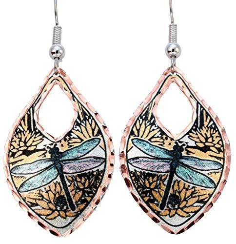 Once pendientes de colibrí/pendientes de libélula/par de pendientes de flamenco/loros/cola de golondrina/monarca hechos de joyería de cobre