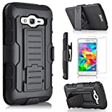 Star Armor Holster Cases Compatible for Samsung Galaxy Grand Prime G530, Dual Layers Kickstand Phone Cover with [Premium HD Screen Protector Included] and Locking Belt Clip (Black)