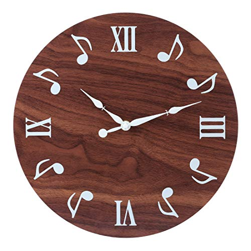FutureShapers - Reloj de pared vintage sin ruido de garrapatas, brillo en la oscuridad, madera MDF, silencioso, diámetro 30 cm, 12 pulgadas