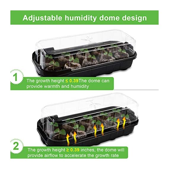 3-pack seed starting kit window garden greenhouse, adjustable humidity dome seed starter tray, mini propagator kit… 2 : reusable seed starter kit, creates growth environment needed for reliable seed germination. The holes designed make plant absorb water quickly and evenly : the transparent greenhouse cover can provide warmth and humidity. When the growth height of seedling exceeds 0. 39 inches, airflow is needed to accelerate the growth rate, so the cover provides a better growth environment and space : insert seed or cuttings and keep them moist in warm greenhouse. After the seeds grow up, you can even move the entire seed drive to an outdoor patio, deck planter or backyard garden. It is very suitable for people of any skill level, including children