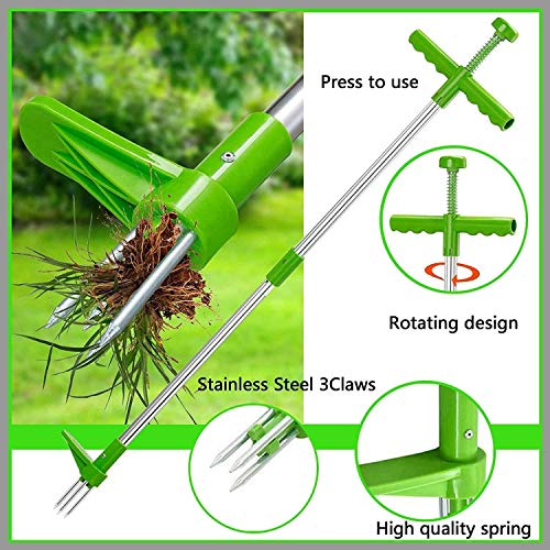 SAQIMA Stand-Up Weeder Root Removal Tool with 3 Stainless Steel Claws, 39