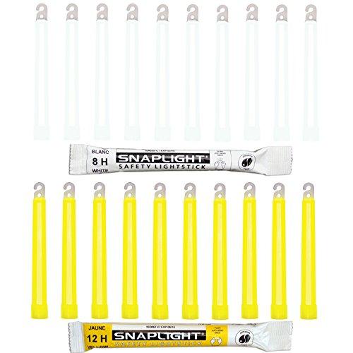 Cyalume SnapLight 15cm ultra helle Knicklichter 20-er Pack mit Haken am Ende (10-er 8h in weiß, 10-er 12h in gelb)