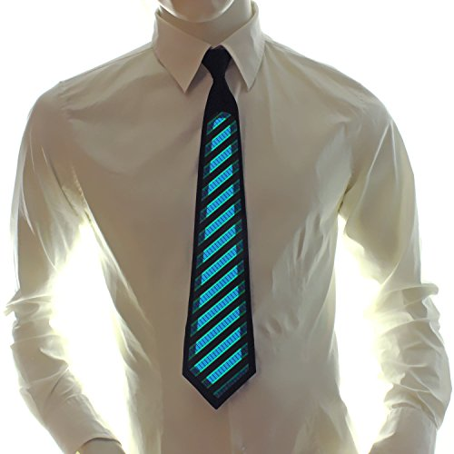 Ucult Soundaktive Leuchtkrawatte Streifen-Krawatte, Leucht-Schlips, LED-Krawatte Fasching Karneval Club Party