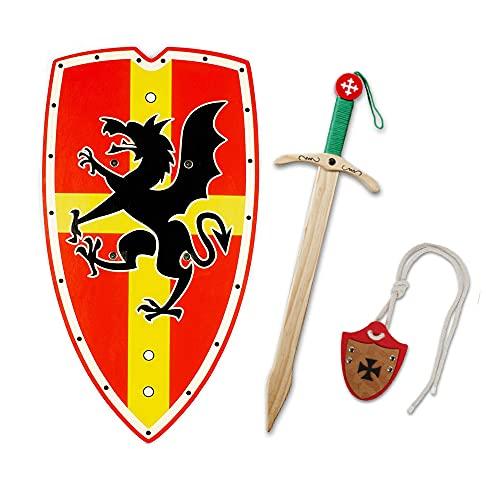 HERALDUM Espada y Escudo para Niño de Madera, Caballero Medieval Templario,Armas de Juguete para Niños.