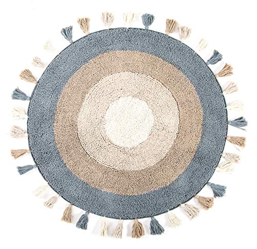Fernish Décor Ultra Soft 100% Pure Cotton Luxury Bath Rug for Spa Shower Toilet Sink- Water Absorbent- Anti Skid (36' Round Diameter) Teal-Linen