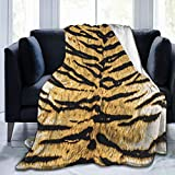 Animal Skin Tiger Print Soft Throw Blanket All Season Microplush Warm Blankets Lightweight Tufted Fuzzy Flannel Fleece Throws Blanket for Bed Sofa Couch