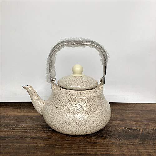 Tetera esmaltada con forma de pera y mango de acero inoxidable para café, té y lunares, aa1.5