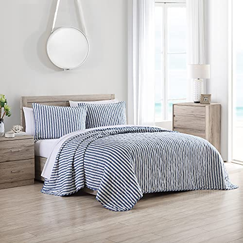 Stone Cottage   Willow Way Collection   Quilt Set-100% Cotton, Reversible, Lightweight & Breathable Bedding with Matching Shams, Pre-Washed for Added Softness, Queen, Indigo