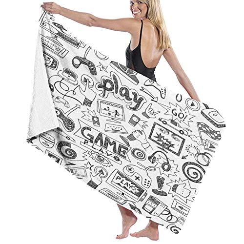 Grande Suave Toalla de Baño Manta,Monocromo Sketch Style Diseño de Juegos Racing Monitor Dispositivo Gadget Teen 90's,Hoja de Baño Toalla de Playa por la Familia Viaje Nadando Deportes,52' x 32'