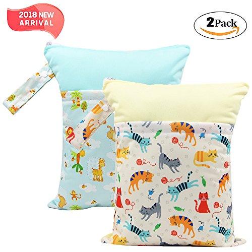 '2 Pack Baby humide et chiffon sec Sacs à langer étanche réutilisable avec deux poches à fermeture éclair, 11,8 X 14,6, animaux, 2 Pack, giraffe&cat, 2