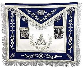 Masonic Blue Lodge Past Master Silver Machine Embroidery Freemasons Apron  Standard