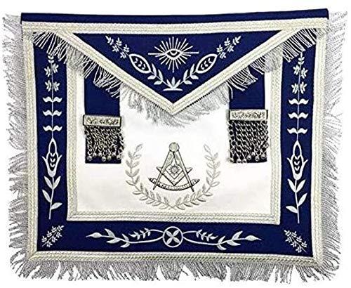 Masonic Blue Lodge Past Master Silver Machine Embroidery Freemasons Apron (Standard)