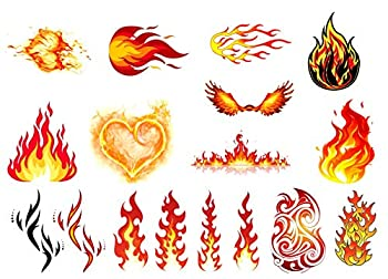 Fire Collection  Fire Flame Temporary Tattoo