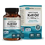 Neptune Krill Oil 1000mg by DailyNutra - High Absorption Omega-3 EPA DHA & Astaxanthin. Pure and Sustainable. Clinically Shown to Support Healthy Heart, Brain and Joints (30 Servings / 60 softgels)