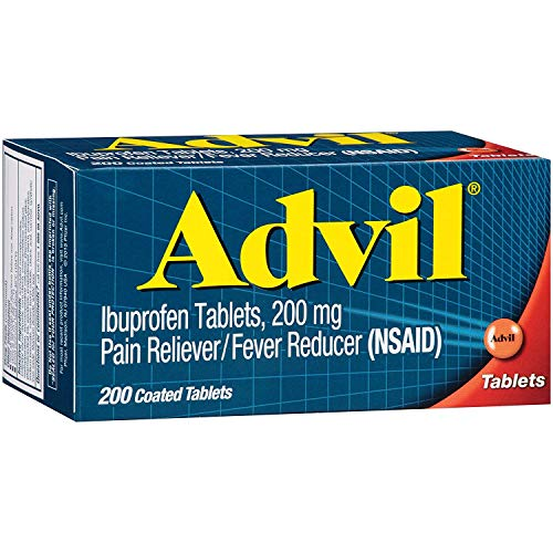 Advil Coated Tablets Pain Reliever and Fever Reducer, Ibuprofen 200mg, 200 Count
