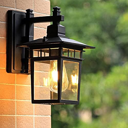 Aplique de exterior antiguo E27 Lámpara de jardín Aplique de pared antiguo retro con cubierta de lámpara de vidrio Lámpara de exterior Puerta impermeable Balcón Villa Lámpara de exterior-Negro