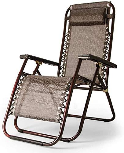 PIAOLING Lounge-Sessel Sun-Lounger, Null-Schwerkraftstuhl Falten & Liegen Verstellbarer Sonnenliege mit Kopfkissen für Terrasse, Wintergarten, Garten