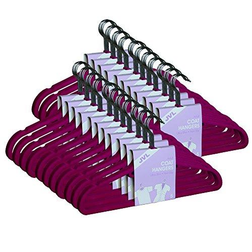 JVL, stampelle in Velluto Sottile Antiscivolo, di qualità, salvaspazio, Color Rosa Shocking, Pink, Pack of 50