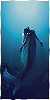 SLHFPX Mermaid Ocean Hand Towels Ultra Soft Luxury Cotton Face Towel Washcloths for Home Kitchen Bathroom Spa Gym Swim Hotel Use