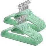 SONGMICS 50 Perchas Antideslizantes para Chaquetas, Abrigos, Faldas, Camisas, Pantalones, Color Aguamarina CRF50BU