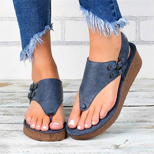 ONEYMM Sandalen Damen Leder 2020 Sommer Schuhe Flach Flip Flops Slim Zehentrenner Peeptoe Sandalen Riemchensandale Comfy Casual Sandalette rutschfest Sommerschuhred,Blau,37