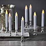 Christmas Window Candles with Silver Holders - Battery Operated White Flameless Taper, Removable Base, Flickering LED Light, Auto Timer, Remote Control & Batteries Included - Set of 8