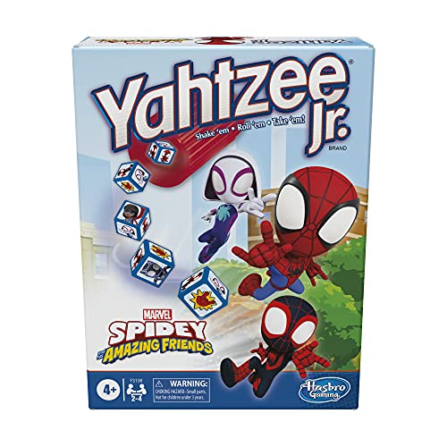 Hasbro Gaming Yahtzee Jr. Marvel Spidey and His Amazing Friends Edition Board Game for Kids Ages 4 and Up, Counting and Matching Game for Preschoolers (Amazon Exclusive)