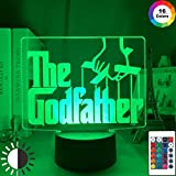 Film The Godfather Letter Logo 3d Led Night Light para decoración del hogar Nightlight Touch Sensor Rgb Colorful Remote Office Table Lamp