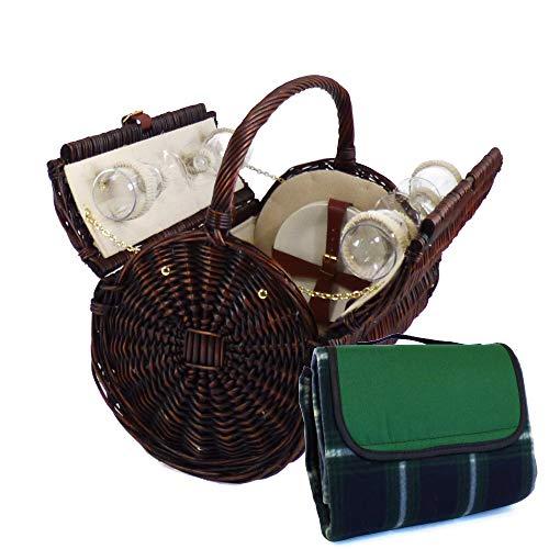 Traditioneller 'Stamford' Picknickkorb Für 4 Personen Mit Grüner Picknickdecke - Die Ideale Geschenkidee zum Geburtstag, Hochzeit, Jubiläum
