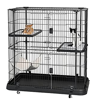 Prevue Pet Products Deluxe Cat Home With 3 Levels Black