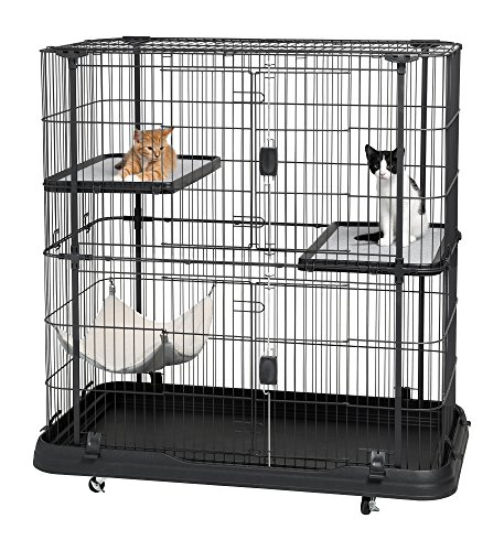 Prevue Pet Products Deluxe Cat Home With 3 Levels, Black