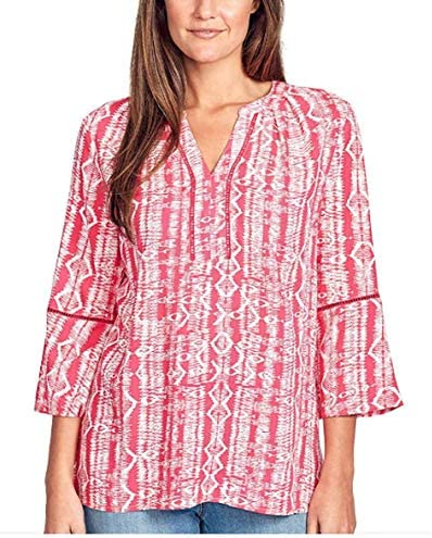 Gloria Vanderbilt Women s Nova Flutter Sleeve Blouse Weaving Azalea S product image