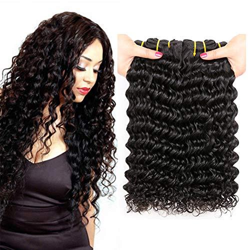 PF Hair Brésiliens Vierges Vague Profonde de Cheveux Bouclés 100% Cheveux Humains Naturels Deep Boucle Tissage Bresilien Naturel Noir Couleur 3 Trames 300 grammes 12 14 16 Pouces