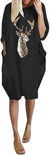 JUTOO Damen Plus Größe Loses beiläufiges Kleid O-Ansatz Langen Weihnachten Elch Druck Kleid